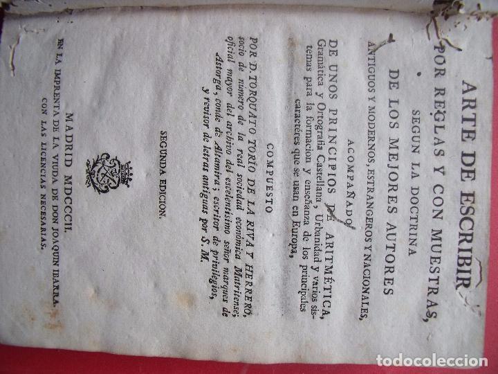 Libros antiguos: TORCUATO TORIO DE LA RIVA Y HERRERO.-ARTE DE ESCRIBIR POR REGLAS.-GRAMATICA.-GRABADOS.-MADRID.-1802. - Foto 2 - 102429471