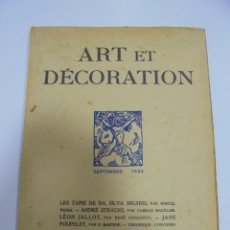 Libros antiguos: REVISTA FRANCESA. ART ET DECORATION. SEPTEMBRE 1924. PARIS. VER FOTOS. Lote 102686415