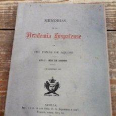 Libros antiguos: MEMORIAS DE LA ACADEMIA HISPALENSE DE SANTO TOMÁS DE AQUINO. AÑO I. CUADERNO III.SEVILLA,1881. Lote 102962211