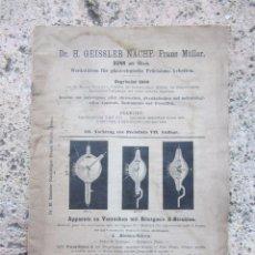 Libros antiguos - Catálogo tubos electricos luz en alemán Dr H Geissler sobre finales XIX - 103126991