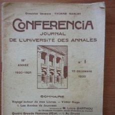 Libros antiguos: CONFERENCIA. JOURNAL DE L'UNIVERSITE DES ANNALES. 15 ANNE 1920-1921.;NUMERO 1 15 DECEMBRE 1920.. Lote 103301839