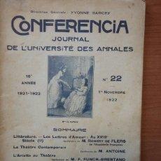 Libros antiguos: CONFERENCIA. JOURNAL DE L'UNIVERSITE DES ANNALES. 16 ANNE 1921-1922.;NUMERO 22 1 NOVEMBRE 1922.. Lote 103316164