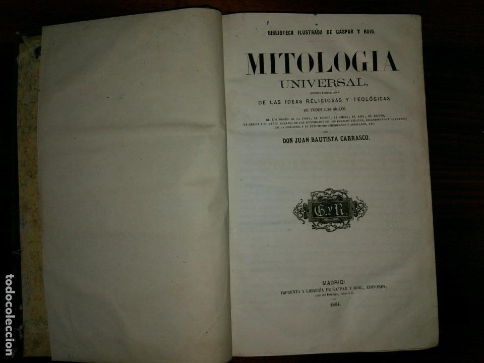 Libros antiguos: Mitología Universal. Ideas Religiosas y Teológicas de todos los Siglos. Juan Bautista Carrasco. 1864 - Foto 2 - 103405623