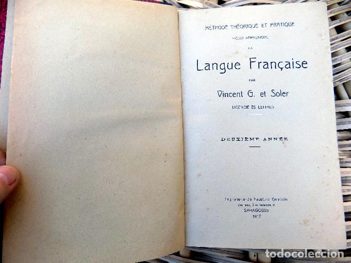 LIBRO DE FRANCES. LANGUE FRANCAISE. VICENT G. ET SOLER. 1917. SARAGOSSE (Libros Antiguos, Raros y Curiosos - Otros Idiomas)