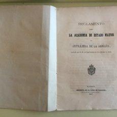 Libros antiguos: ARTILLERIA- REGLAMENTO PARA LA ACADEMIA DE ESTADO MAYOR DE ARTILLERIA DE LA ARMADA- 1.857. Lote 104293295