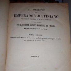 Libros antiguos: FONSECA EL. DIGESTO DEL EMPERADOR JISTINIANO 1ER TOMO 1872. Lote 104324639