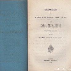Libros antiguos: CANAL DE ISABEL II. REGLAMENTO PARA SUSCRIPCIÓN AL SERVICIO DE AGUAS EN MADRID. MADRID, 1863. Lote 104423223