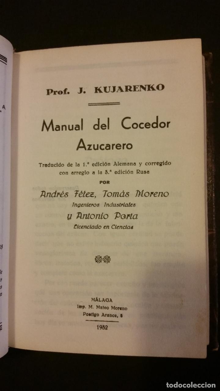 Libros antiguos: 1932 - KUJARENKO - MANUAL DEL COCEDOR AZUCARERO - Foto 2 - 104592763