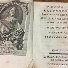 Libros antiguos: EXCEPCIONAL LIBRO OCIOS DEL CONDE DON BERNARDINO DE REBOLLEDO. AÑO 1778 TAPAS PERGAMINO. LEER MAS.... Lote 107812114