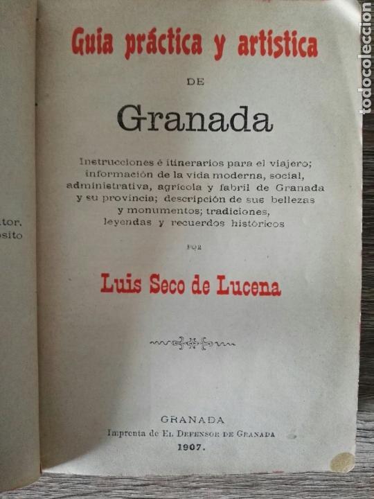 Libros antiguos: guia práctica y artística de Granada 1907 - Foto 2 - 105120332