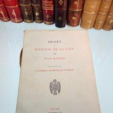 Libros antiguos: ORIGEN Y DIGNIDAD DE LA CAZA - JUAN MATEOS - MADRID - 1927 - INTONSO - SOC. BIBLIÓFILOS ESPAÑOLES . Lote 105428355