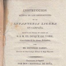 Libros antiguos: GENERAL JARRY. OBLIGACIONES DE LA INFANTERÍA LIGERA EN CAMPAÑA. LONDRES, 1813. RARO. Lote 105600047