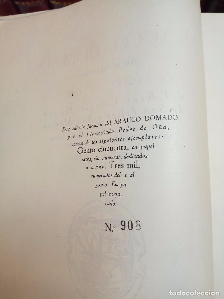 Libros antiguos: ARAUCO DOMADO POR EL LICENCIADO PEDRO DE OÑA - COL. INCUNABLES AMERICANOS - VOLUMEN XI - 1944 - - Foto 4 - 105606703