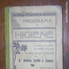 Libros antiguos: (F.1) PROGRAMA DE HIGIENE POR Dª DOLORES CORTES Y SAMPER AÑO 1905. Lote 105899555