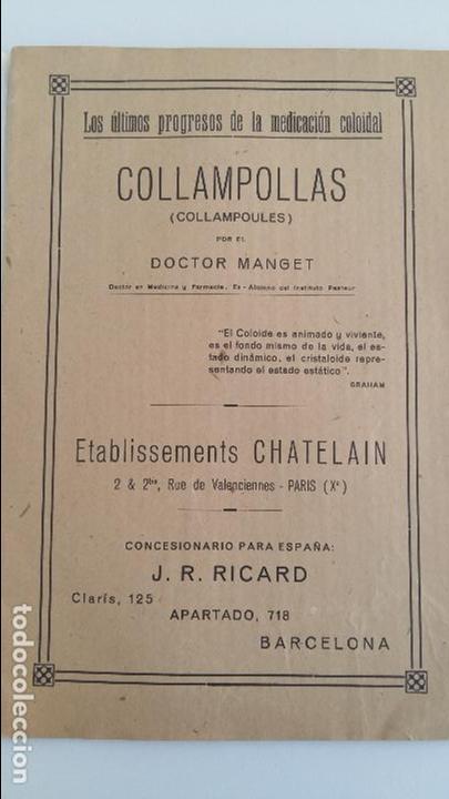 COLLAMPOLLAS (COLLEMPOULES) POR EL DOCTOR MANGET. PROGRESOS DE LA MEDICINA COLOIDAL (Libros Antiguos, Raros y Curiosos - Ciencias, Manuales y Oficios - Otros)
