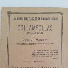 Libros antiguos: COLLAMPOLLAS (COLLEMPOULES) POR EL DOCTOR MANGET. PROGRESOS DE LA MEDICINA COLOIDAL. Lote 106621891