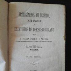 Libros antiguos: PROLEGÓMENOS DEL DERECHO HISTORIA Y ELEMENTOS DE DERECHO ROMANO 1883. Lote 106931612