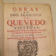 Libros antiguos: OBRAS DE FRANCISCO DE QUEVEDO 1726 - EX-LIBRIS ST. EDMUND HALL - UNIVERSIDAD OXFORD EJEMPLAR ÚNICO. Lote 107194731