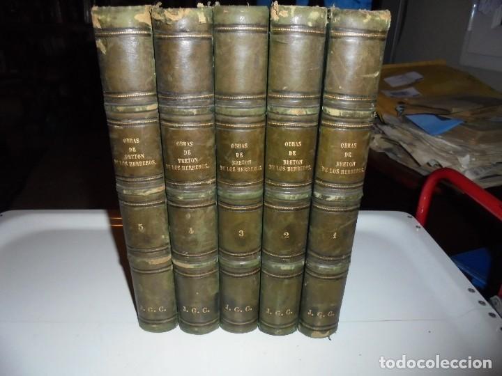 OBRAS DE DON MANUEL BRETON DE LOS HERREROS OBRA COMPLETA 5 TOMOS 1183-1884.IMPRENTA DE MIGUEL GINEST (Libros antiguos (hasta 1936), raros y curiosos - Literatura - Narrativa - Otros)