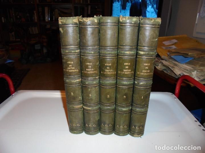Libros antiguos: OBRAS DE DON MANUEL BRETON DE LOS HERREROS OBRA COMPLETA 5 TOMOS 1183-1884.IMPRENTA DE MIGUEL GINEST - Foto 2 - 107350827