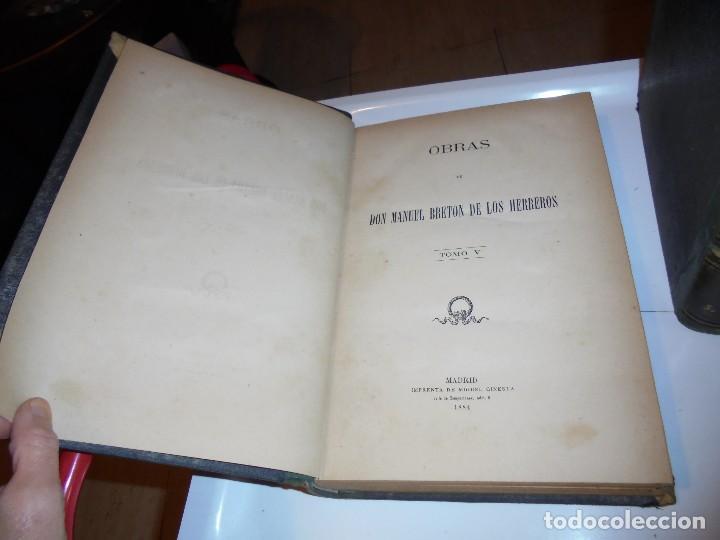 Libros antiguos: OBRAS DE DON MANUEL BRETON DE LOS HERREROS OBRA COMPLETA 5 TOMOS 1183-1884.IMPRENTA DE MIGUEL GINEST - Foto 14 - 107350827