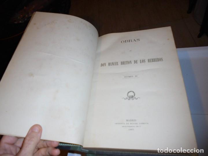 Libros antiguos: OBRAS DE DON MANUEL BRETON DE LOS HERREROS OBRA COMPLETA 5 TOMOS 1183-1884.IMPRENTA DE MIGUEL GINEST - Foto 36 - 107350827