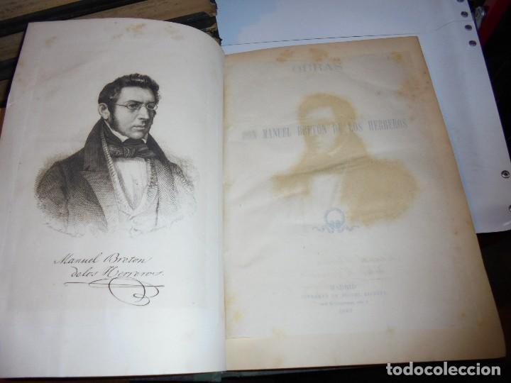 Libros antiguos: OBRAS DE DON MANUEL BRETON DE LOS HERREROS OBRA COMPLETA 5 TOMOS 1183-1884.IMPRENTA DE MIGUEL GINEST - Foto 46 - 107350827