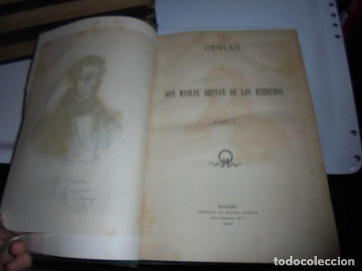Libros antiguos: OBRAS DE DON MANUEL BRETON DE LOS HERREROS OBRA COMPLETA 5 TOMOS 1183-1884.IMPRENTA DE MIGUEL GINEST - Foto 47 - 107350827