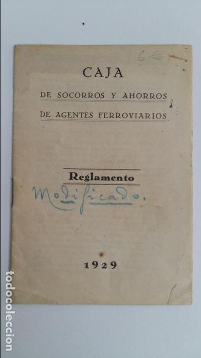 CAJA DE SOCORROS Y AHORROS DE AGENTES FERROVIARIOS. REGLAMENTO. 1929 (Libros Antiguos, Raros y Curiosos - Ciencias, Manuales y Oficios - Otros)