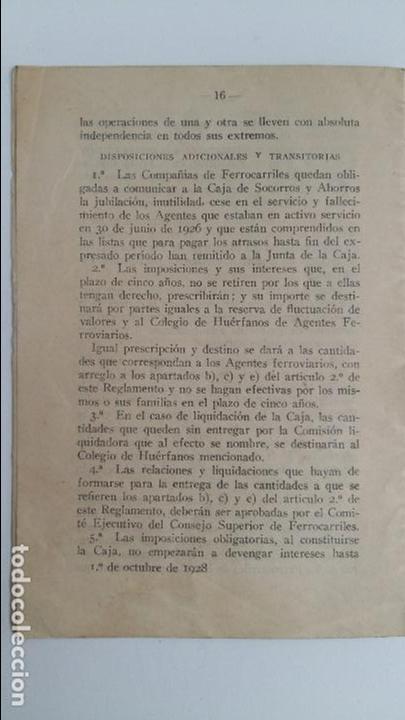Libros antiguos: CAJA DE SOCORROS Y AHORROS DE AGENTES FERROVIARIOS. REGLAMENTO. 1929 - Foto 3 - 108043775