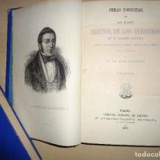 Libros antiguos: OBRAS ESCOGIDAS DE DON MANUEL BRETÓN DE LOS HERREROS - 2 TOMOS (COMPLETO) - 1875. Lote 108909107