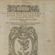 Libros antiguos: AVERTIMENTI ET ESSAMINI INTORNO A QUELLE COSE CHE RICHIEDE A UN BOMBARDIERO, COSI CIRCA ALL'ARTEGLIA. Lote 109023995