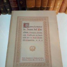 Libros antiguos: CANCIONERO DE JUAN DEL ENCINA - FACSÍMILE DE 1496 - REAL ACADEMIA ESPAÑOLA - MADRID - 1928 - INTONSO. Lote 109097851
