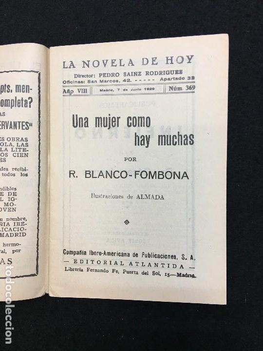 Libros antiguos: La Novela de Hoy. Año VIII. Madrid,1929. nº 369. R. Blanco-Fombona.- Una mujer como hay muchas. - Foto 2 - 109110031