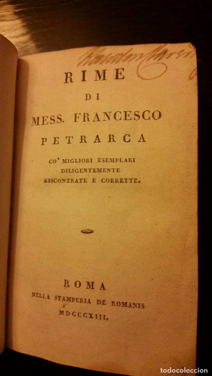 Libros antiguos: 1813 - PETRARCA - RIME - Foto 3 - 109116411