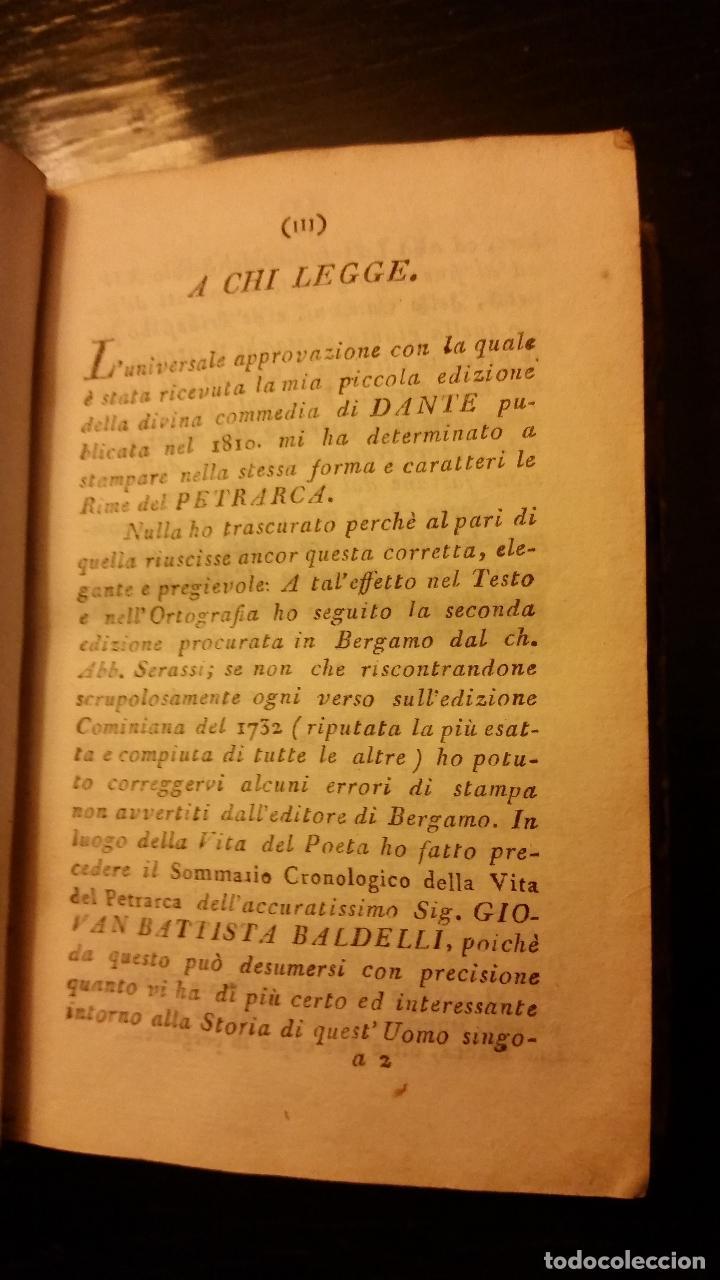 Libros antiguos: 1813 - PETRARCA - RIME - Foto 4 - 109116411