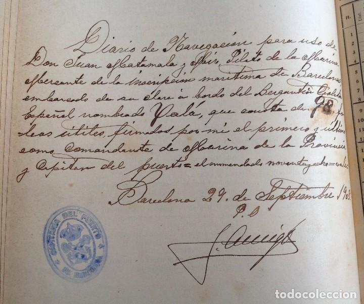 Libros antiguos: 1908 DIARIO manuscrito DE NAVEGACION * Barcelona a Honduras y Yucatan Mexico * 196 paginas - Foto 4 - 109313031