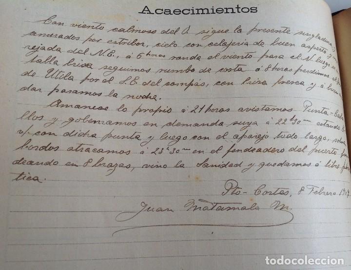 Libros antiguos: 1908 DIARIO manuscrito DE NAVEGACION * Barcelona a Honduras y Yucatan Mexico * 196 paginas - Foto 12 - 109313031