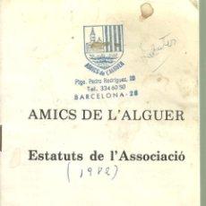 Libros antiguos: 2302.- AMICS DE L`ALGUER ESTATUTS DE L`ASSOCIACIO. Lote 109525975