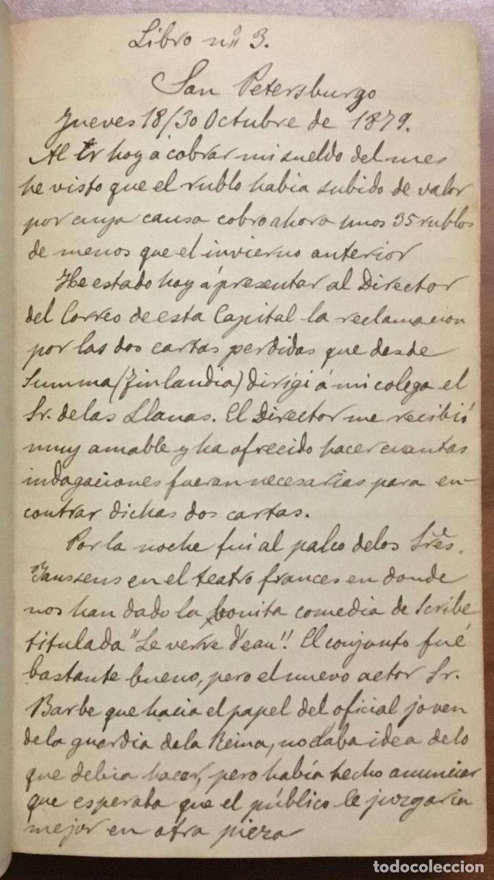 [MANUSCRITO] [BARRE DE FLANDES, AGUSTÍN DE LA] SAN PETERSBURGO. LIBRO Nº 3 DE NOTAS E IMPRESIONES... (Libros Antiguos, Raros y Curiosos - Literatura - Otros)