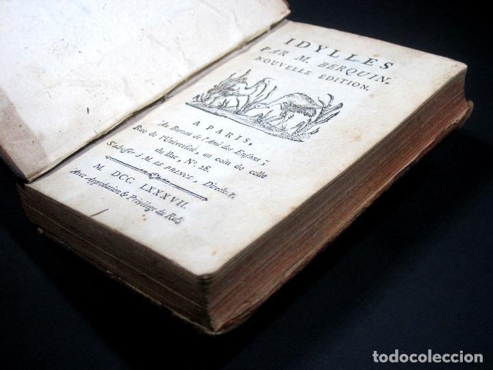 Libros antiguos: Año 1787 París Romances e Idilios de Berquin 2 tomos en un volúmen Grabados entre el texto - Foto 3 - 109541559