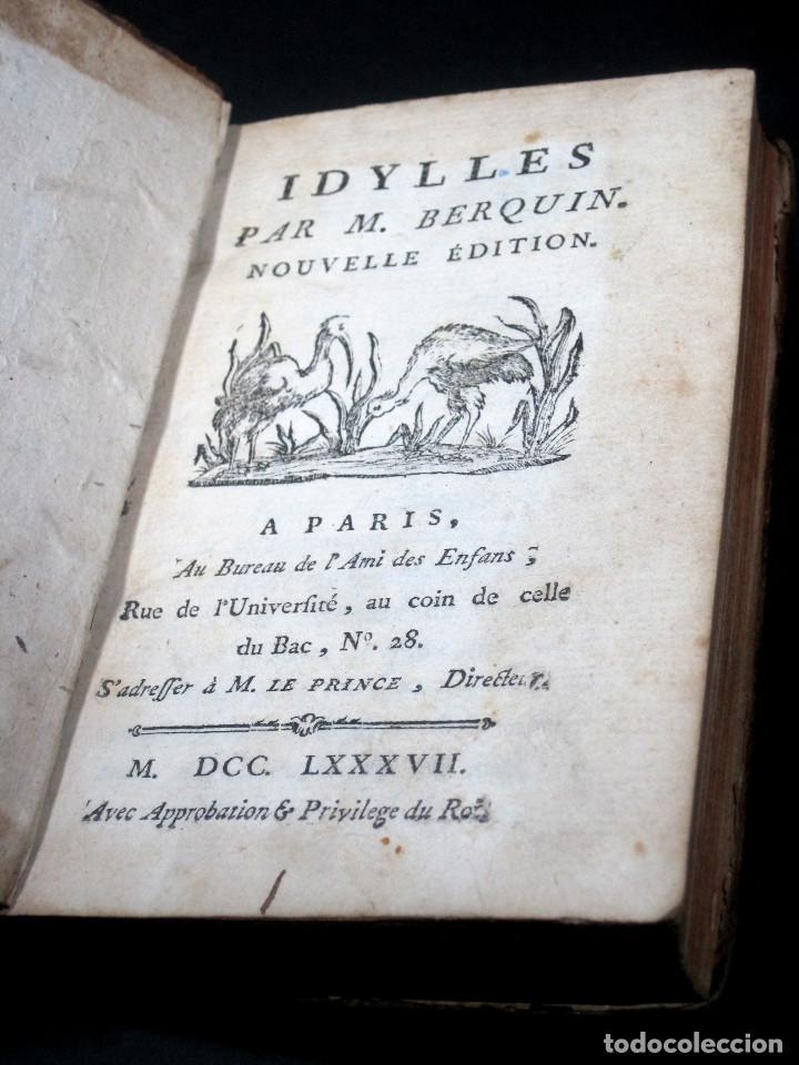 Libros antiguos: Año 1787 París Romances e Idilios de Berquin 2 tomos en un volúmen Grabados entre el texto - Foto 11 - 109541559