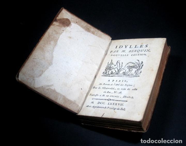 Libros antiguos: Año 1787 París Romances e Idilios de Berquin 2 tomos en un volúmen Grabados entre el texto - Foto 16 - 109541559