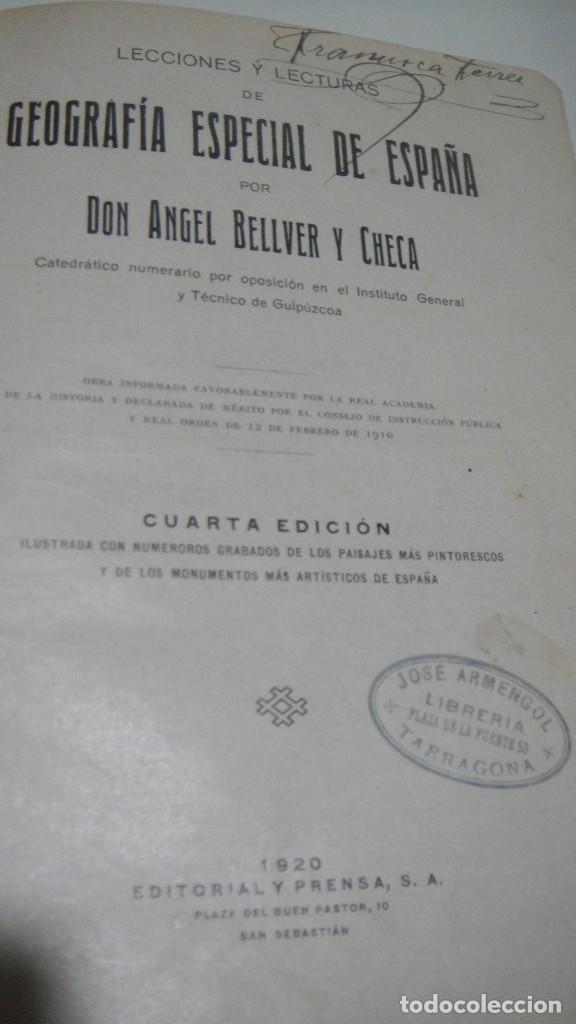 Libros antiguos: geografia especial de españa - angel bellver - editorial y prensa año 1920 - Foto 2 - 109882975