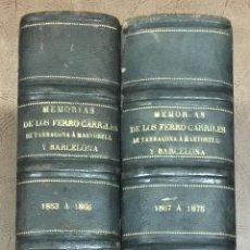 Libros antiguos: CONJUNTO DE MEMORIAS ENCUADERNADAS EN DOS TOMOS: 1.º) ESTATUTOS Y REGLAMENTO DE LA... FERROCARRILES. Lote 109022715