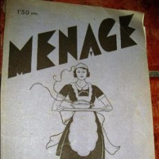 Libros antiguos: REVISTA DE COCINA MENAGE , RECETAS PUBLICIDAD Nº 26 . AÑO 1933. Lote 110410719
