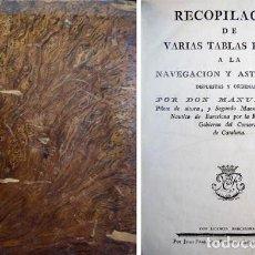 Libros antiguos: SANS, MANUEL. RECOPILACIÓN DE VARIAS TABLAS PROPIAS A LA NAVEGACIÓN Y ASTRONOMÍA. 1795.. Lote 110519563