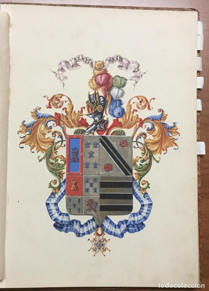 Libros antiguos: REAL DESPACHO DE NOBLEZA Y ARMAS DE DON MANUEL LÓPEZ GAMUNDI VILLANUEVA Y OMS. Manuscrito Ejecutoria - Foto 3 - 109020935