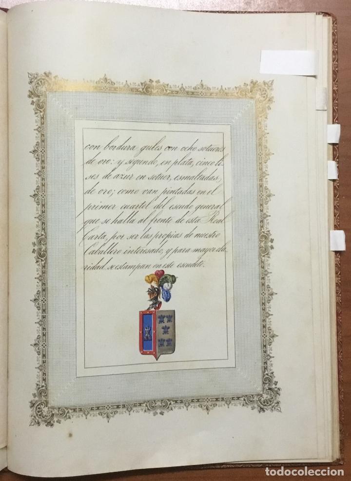 Libros antiguos: REAL DESPACHO DE NOBLEZA Y ARMAS DE DON MANUEL LÓPEZ GAMUNDI VILLANUEVA Y OMS. Manuscrito Ejecutoria - Foto 7 - 109020935
