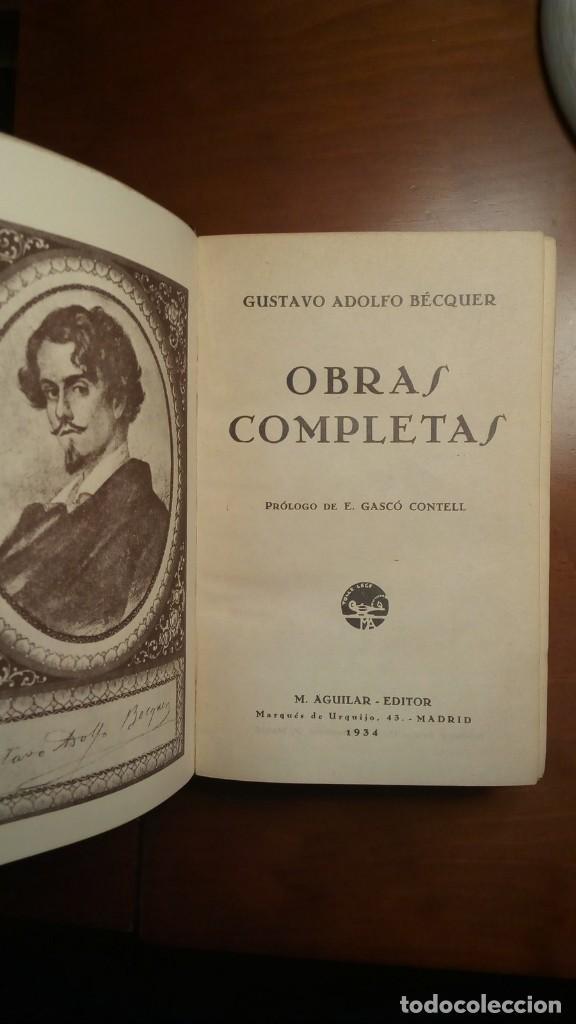 Libros antiguos: Obras Completas, Bécquer, Primera Edición, Aguilar - Foto 5 - 111188623